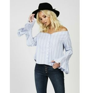 NWT Free People March to the Beat Top Med Striped